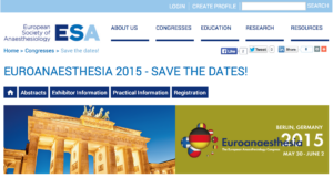 Euroanaesthesia 2015の抄録〆切は12月15日 23:59 CETです。